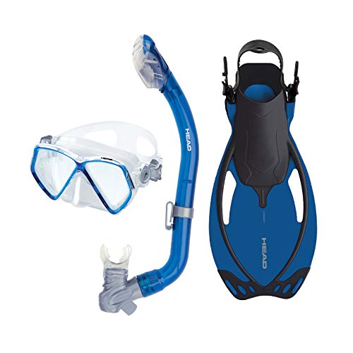 (Pirate Junior Deluxe Silicone Mask/Fins/Dry Snorkel Set by Head Snorkeling (Blue, Small-Youth)