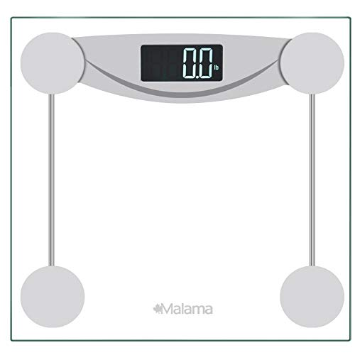 Malama Precision Digital Body Weight Bathroom Scale with Step-On Technology, LCD Backlit Display, 400 lbs Capacity and Accurate Weight Measurements, Silver