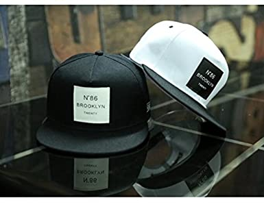 Amazon.com  2018 New Men Womens Brooklyn Letters Solid Color Patch Baseball  Cap Hip Hop Caps Leather Sun Hat Snapback Hats (Black)  Clothing ee82169bf10