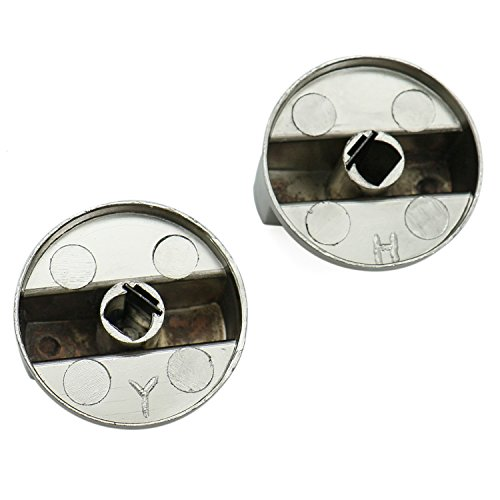 HUELE Kitchen Universal Silver Metal Control Switch Knobs Gas Stove Knobs for Gas Cooker Oven Stove, 2Pcs (8MM)