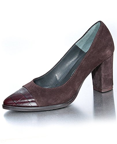 Marion Spath Damen 308-274 Wildleder Pumps mit Kappe Braun