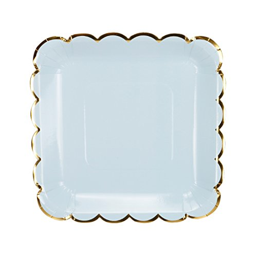 Geeklife Square Paper Plates with Sparkly Gold Foil Border ,9 inch Paper Dessert Plates , Elegant Blue Decorative Party Plates Set , 20 count