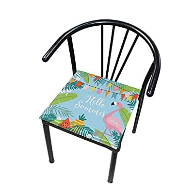 Bardic HNTGHX Outdoor/Indoor Chair Cushion Summer Leaf Flamingo Square Memory Foam Seat Pads Cushion for Patio Dining, 16