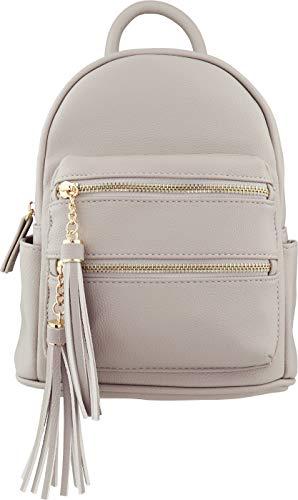 B BRENTANO Vegan Multi-Zipper Top Handle Mini Backpack with Tassel Accents (Gray)