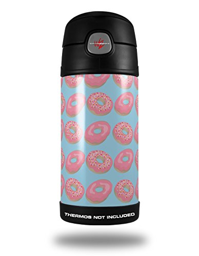 Skin Decal Wrap For Thermos Funtainer 12Oz Bottle Donuts Blue  Bottle Not Included  By Wraptorskinz
