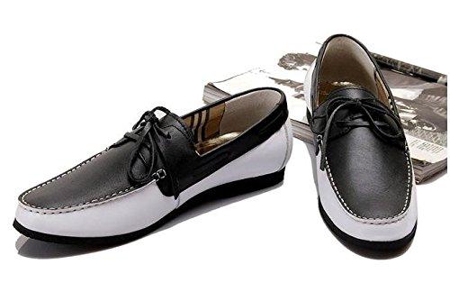 Happyshop (tm) Zapatillas Slip-on Para Hombre De Cuero De Moda Colorant Match Zapatillas Planas Slacker En Inglés Negro Con Blanco