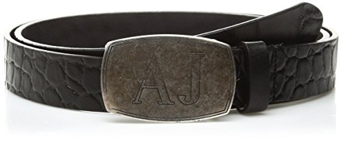 Armani Jeans Men's Croco Embossed Leather Belt, Black, 34