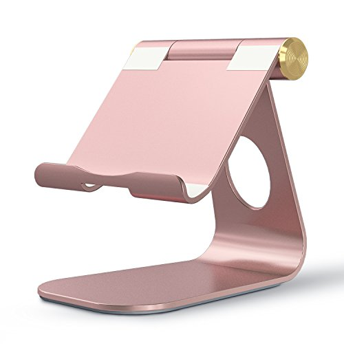 OMOTON Adjustable Tablet Stand Compatible with iPad, Tablets (Up to 12.9 inch) and All Cell Phones, Stable Sticky Base, Rose Gold