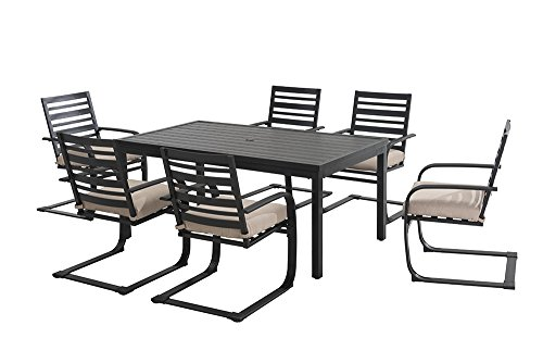 "Sunjoy 7 Piece Blessings Dining Set, 65.9"" x 37"" - Set includes: 1 Table and 6 Dining Chairs Chair: 26x35.8x24 and Table: 65.9x37x28.9 Heavy duty steel construction with a durable powder-coated finish that resists rust, corrosion and chipping - patio-furniture, dining-sets-patio-funiture, patio - 41DMeGgmqAL -"
