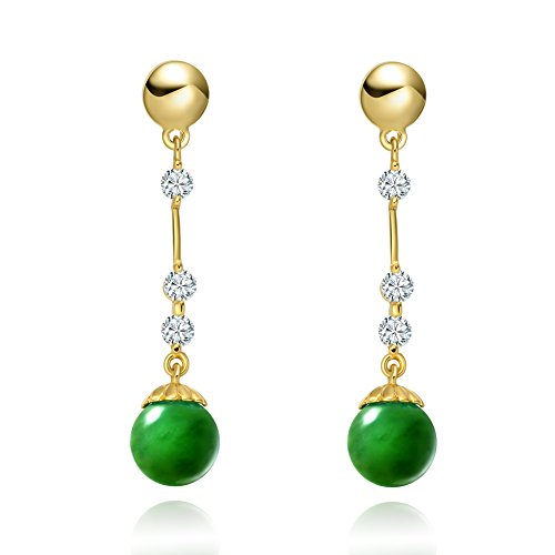 Amulet Beautiful and Cute Green Simulated Jade Magic Circles Gold-Tone Sparkling Crystals Stud (Green Jade Crystal Earring)