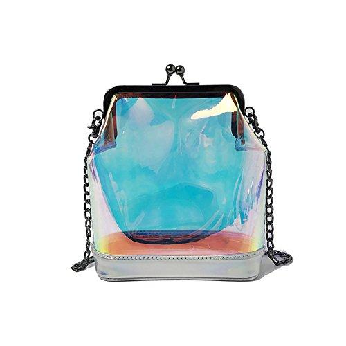 Bolso bandolera con láser holográfico transparente para niñas, diseño de jalea, Plateado, Talla unica