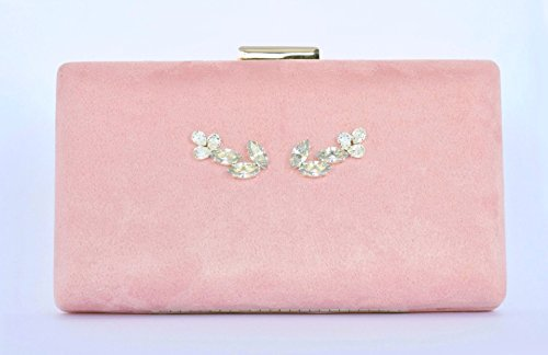 (Pink Velvet Cluth Handbag with Swarovski Crystal Accessories)