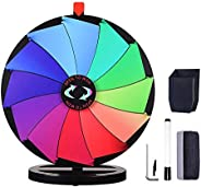 """WinSpin 24"""" Prize Wheel Dry Erase Fortune Spinning Game Carnival with Tabletop Stand 12 Slots Something F"""