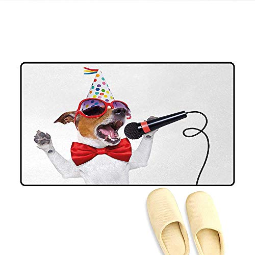 (Doormat,Jack Russel Dog with Sunglasses Party Hat and Bowtie Singing Birthday Song,Bath Mat for Tub Bathroom Mat,Multicolor,Size:32