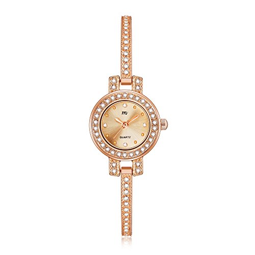 MW Women's 'Tiny Charm' Quartz Rose Gold Casual Wrist Watch, Small Round Case and Bangle with Crystal, Fashion Dress Bracelet Watches for Women Ladies (Bracelet Bangle Quartz Watch)