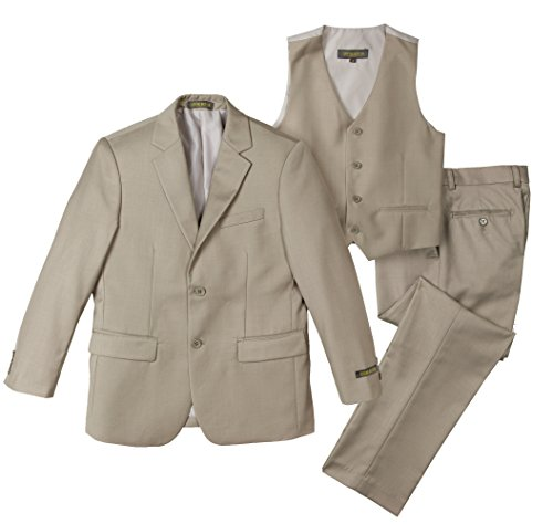 Spring Notion Big Boys' Two-Button Suit Set 10 3-Piece (Boys Tan Suits)