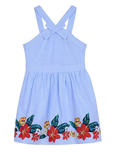 (Nautica Girls' Patterned Sleeveless Dress open blue seersucker 5)