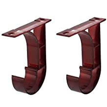 1-inch Drapery Curtain Rod Hook Shape Ceiling Bracket Burgundy 2pcs