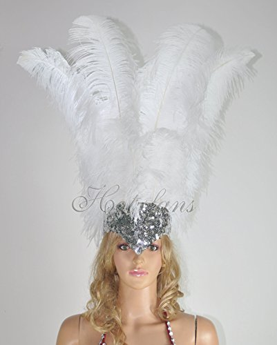 (Hot-fans Ostrich Feathers Sequins Sharp Angle Open Face Headdress, White )