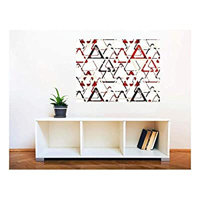Lovely Object of Art, Removable Wall Sticker Wall Mural Seamless Abstract Geometric Triangle Pattern Creative Window View Wall Decor, Made With Top Quality