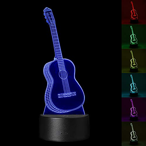 YiaMia Guitar 3D Optical Illusion Night Light Music Decorations Lamp Room Bedroom Decor Touch Led Light Multi Color Music Lovers Gifts Toy Guitar Party Decor