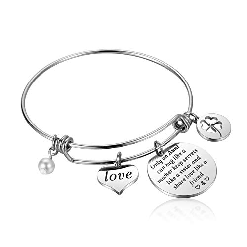 JanToDec Jewelry Aunt Niece Charm Bracelet for Women Auntie Gifts for Mothers Day, Christmas, Birthday