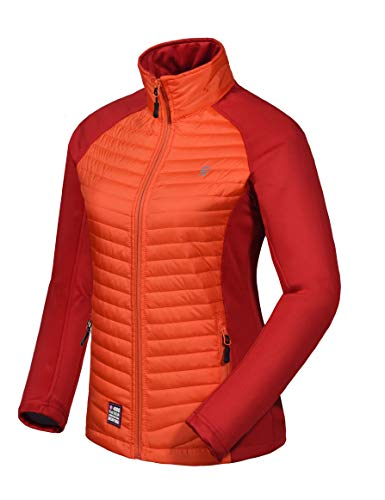 (Little Donkey Andy Women's Insulated Jacket, Thermal Hiking Hybrid Jacket, Lightweight, Warm and Breathable Orange/Dark Red Size)