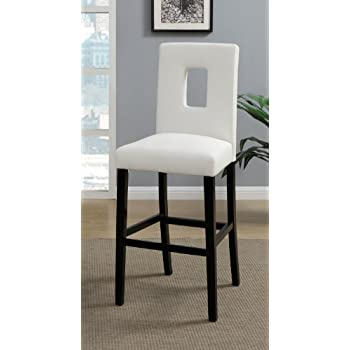 Delicieux White Leather Bar Stools Set Of 2 Parson Bar Chairs