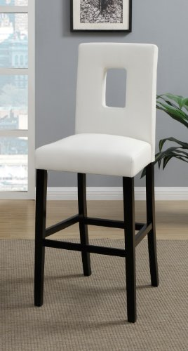 White Leather Bar Stools Set of 2 Parson Bar Chairs