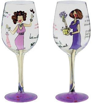 My Mother, My Friend Bottom's Up Wine Glass -