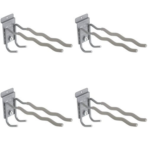 StoreWALL Heavy Duty Tool Hook with CamLok Wall Locking Mechanism and Notched Double Hook Design for Shovels, Brooms, Rakes, Garage Storage (Pack of 4)