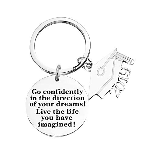 2019 Graduation Gifts Keychain for Boys Girls, Inspirational Gifts Keychain-Go Confidently in The Direction of Your Dreams Live The Life You Have Imagined (Style 1) (Gift Boys Graduation)