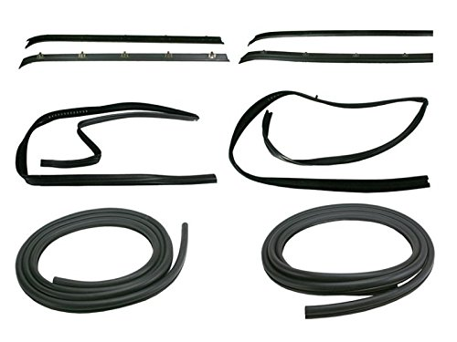 Front Door Window Run Sweep Felts Weatherstrip Seals Kit Set for Chevy GMC (Gmc Suburban Door Weatherstrip Seal)