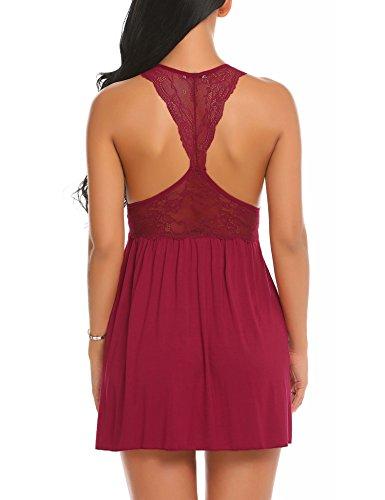 Ekouaer Sleepwear Womens Chemise Nightgown Lace Soft Lounge Sling Dress
