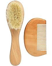 Docooler New Baby Hair Brush Comb Set Wooden Handle Newborn Baby Hairbrush Infant Comb Soft Wool Hair Scalp Massage