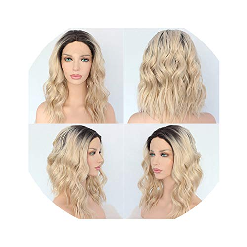 New Dark Roots Ombre Brown Hair Hand Tied Short Wavy Heat Resistant Glueless Synthetic Lace Front wigs for Women-in Synthetic None,Natural Color,14inches