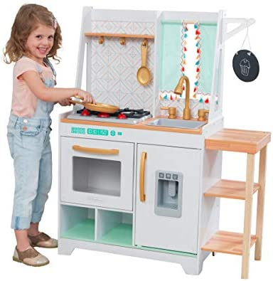 Amazon Com Kidkraft Kensington Market Wooden Kids Kitchen Playset With Lights Sounds Kitchen Toys For Boys Girls Toddlers Ages 3 Toys Games
