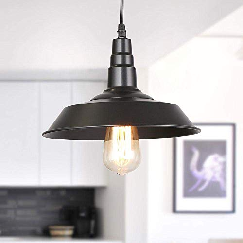(LNC A0190701 Hanging Lights 10 Inch Iron Indoor Pendant Paint Baking Finish, Adjustable Length, UL Certification for Kitchen, Bar Counter, Dining Room-A0190701, Black)