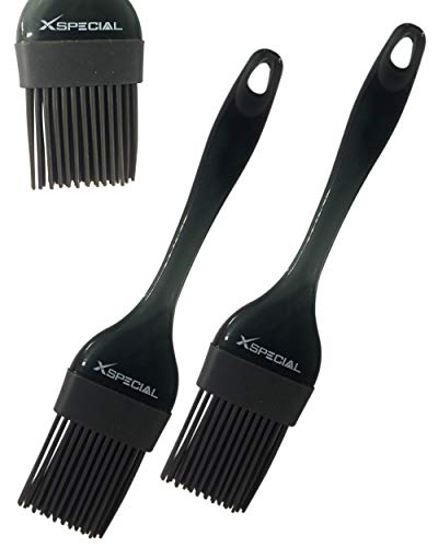 Black Basting Brush | Heat Resistant Silicone Bristle | Use for Pastry, Turkey Baster, Marinade, Bakery | Spread: - Butter -Sauce - Egg - Oil | Basters for Cooking | BBQ Mop (2 Pack) -