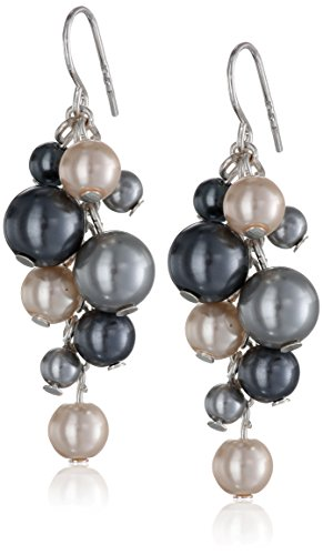 Mother Of Pearl Cluster Earring - Cream and Grey Simulated Pearl Cluster Drop Earrings