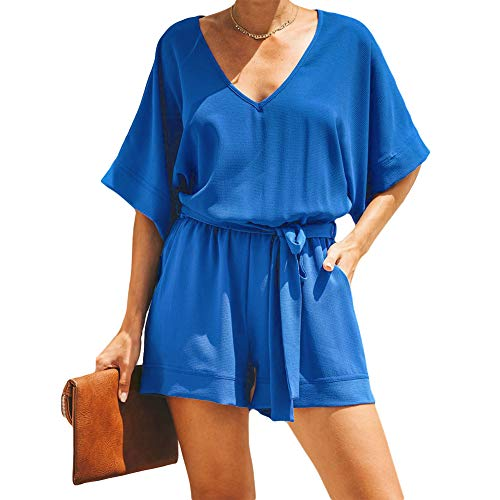 Women Short Sleeve Summer Rompers Button Key Hole Back Casual Jumpsuit L