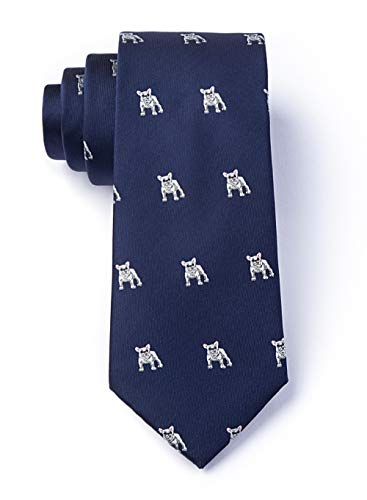 Men's Hipster Navy Blue French Bulldogs Dog Animal Narrow Skinny Tie Necktie