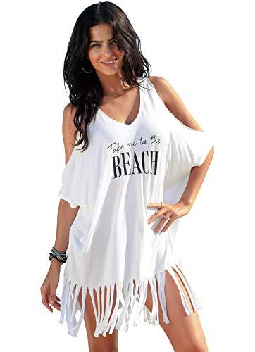 QBSM Womens Swimsuit Beach Bikini Swimwear Cover Ups Sexy T-Shirt Dress Swim Wear Bathing Suit Coverups White