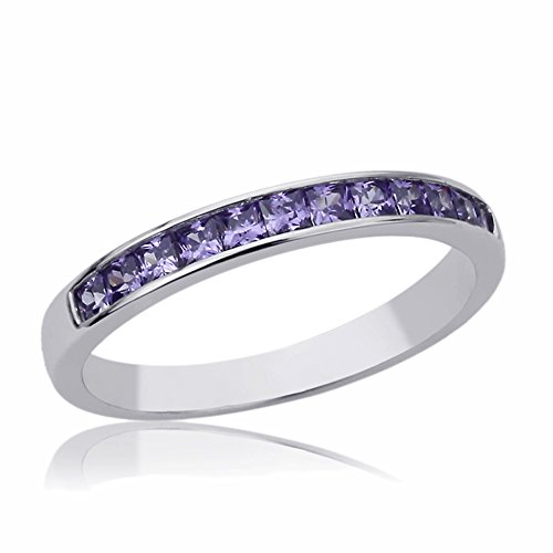 Sterling Silver 3mm Channel Set Princess Cut Violet Purple Color Engagement Ring -Size: 7 (Set Channel Purple)