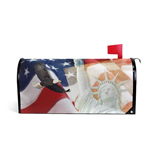 ALAZA American Flag Bald Eagle and Statue of Liberty Mailbox Cover Standard Size-18