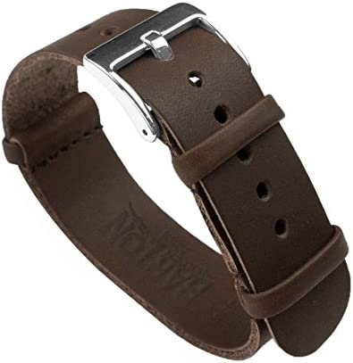 BARTON Leather Military Style Watch Straps – Choose Color, Length & Width – 18mm, 20mm, 22mm, 24mm Bands