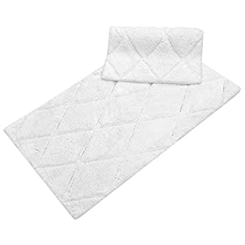 """TreeWool, (2 Piece) Bathroom Rug Set with Latex Sprayed Backing, Non Skid Diamond Accent Bath Mats in 2000 GSM Supreme Soft 100% Cotton High Absorbent, Hand Tufted (21""""x34"""" & 17""""x24""""; White)"""
