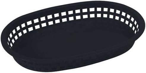 "Winco PLB-K, 10-3/4"" x 7-1/4"" x 1-1/2"" Black Premium Oval Bread and Fruit Basket Platter, Tabletop Serving Display Snacks Baskets, 1 Dozen Pack"