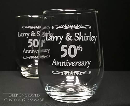 Personalized 50th Anniversary Stemless Wine Glasses 17 oz. Engraved Wedding Favors Guest Take Home Gift Memento