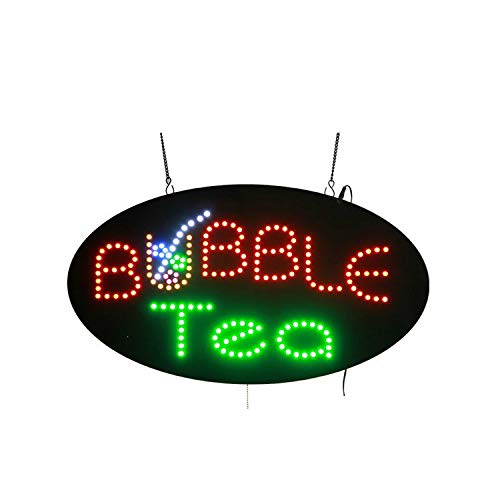 Led Sign Bar Juice - LED Bubble Tea Open Light Sign Super Bright Electric Advertising Display Board for Juice Bar Boba Tea Smoothie Coffee Cafe Business Shop Store Window Bedroom Decor 27 x 15 inches